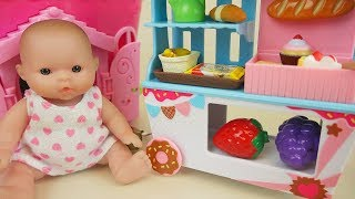 Baby doll and food cart house toys play