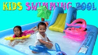 Surprice SWIMMING POOL,SLIDE,Fish Character Balloon, Kids Playing Swimming Pool