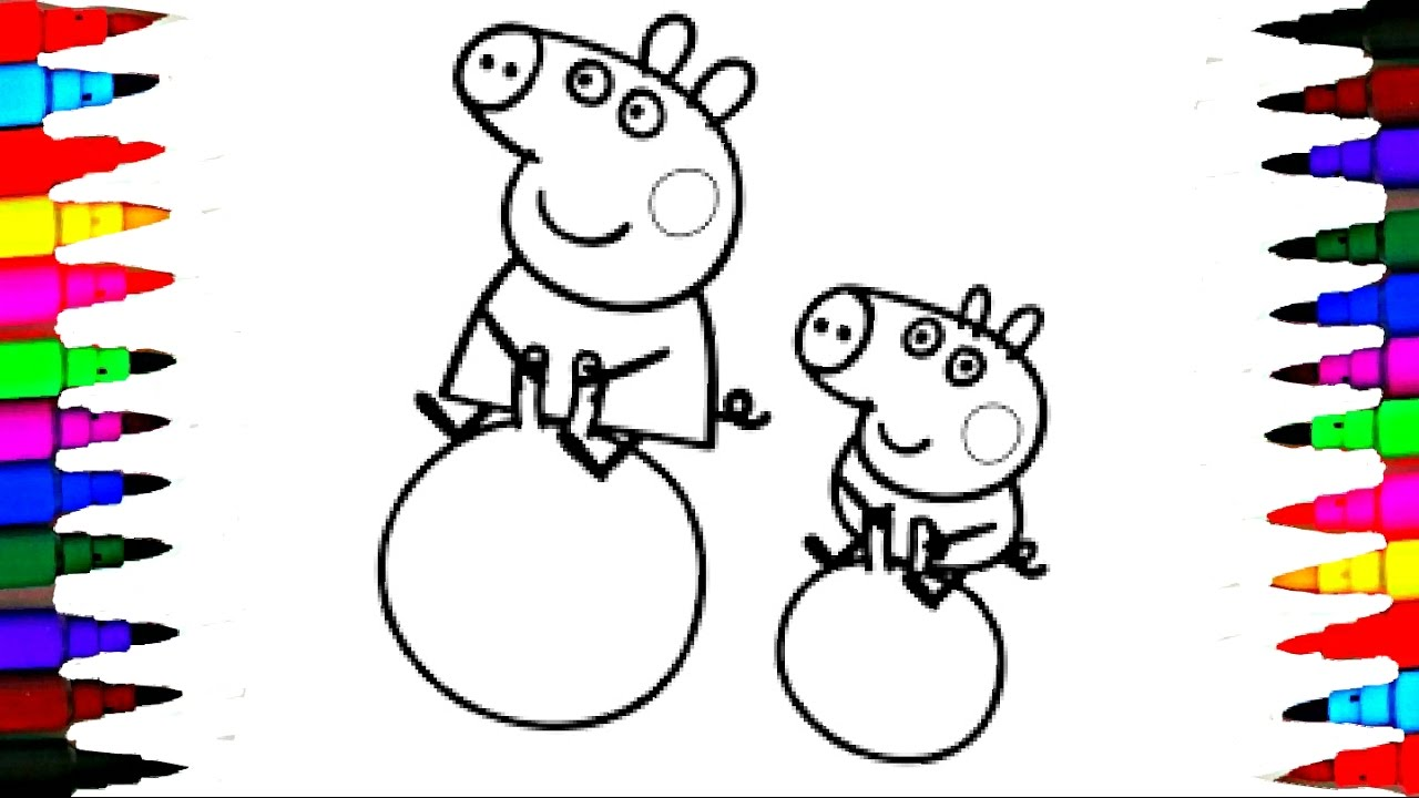 Coloring Pages PEPPA PIG and George Pig on Bouncing Ball