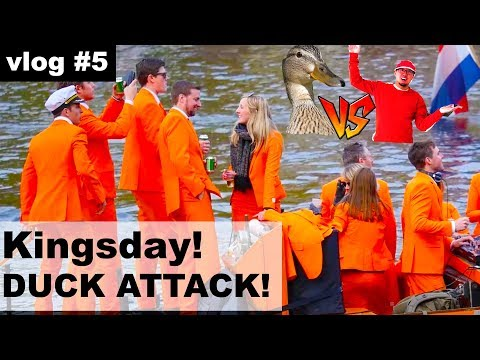 Kingsday in Amsterdam, Netherlands.Guide to the games, fun and parties. Duck attacked me! | #vlog1.5