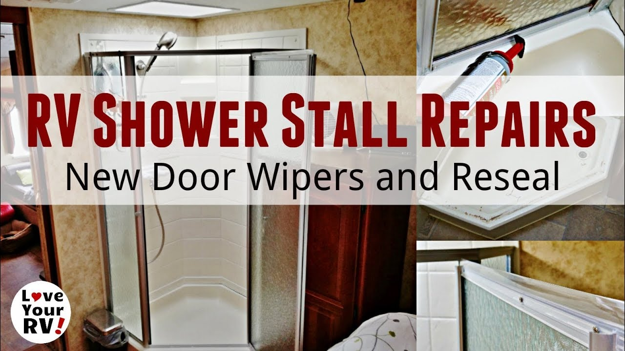 RV Shower Stall Repairs - New Door Sweeps and Reseal - YouTube