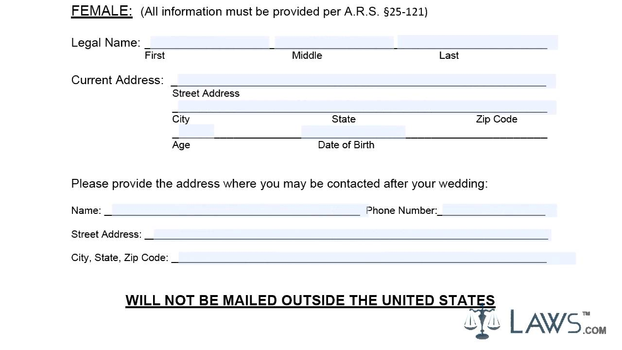 Instruction to fill mohave county marriage license by mail ...