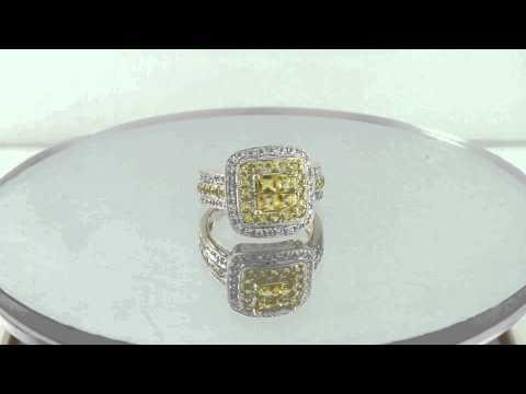 Estate 1.50ct Diamond & Yellow Sapphire 14k Yellow Gold Ring