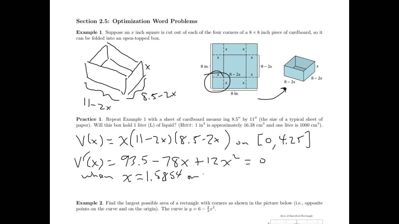 Worksheets Calculus Optimization Worksheet applied calculus optimizaation worksheet youtube worksheet