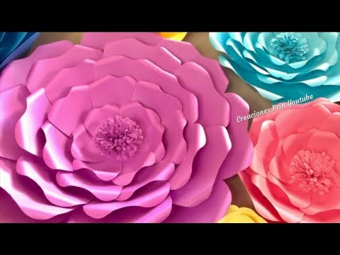 Flores Gigantes De Papel Para Decoracion Youtube