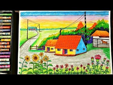 Hướng dẫn vẽ tranh phong cảnh quê hương bằng màu sáp đơn giản - Hung art