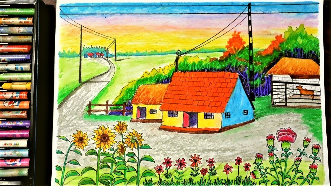 Hướng dẫn vẽ tranh phong cảnh quê hương bằng màu sáp đơn giản – Hung art | Tổng quát các kiến thức liên quan cách vẽ tranh phong cảnh quê hương đơn giản mới cập nhật