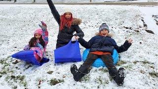 Kids Snow Sledding Challenge with Mom