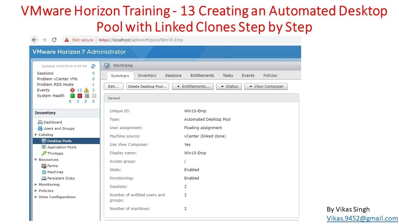 VMware Horizon Training | 13 - Creating an Automated Desktop Pool with  Linked Clones Step by Step