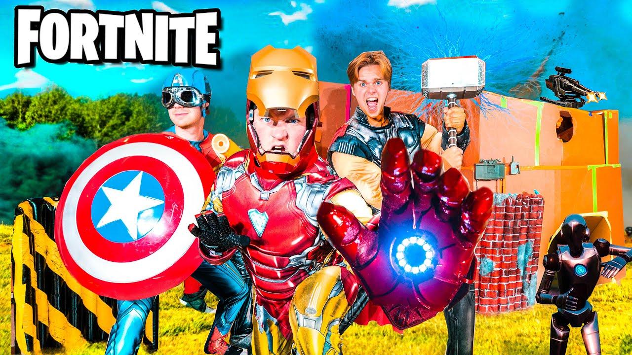 Real Life FORTNITE Iron Man BOX FORT VS GALACTUS! AVENGERS Fortnite Nerf
