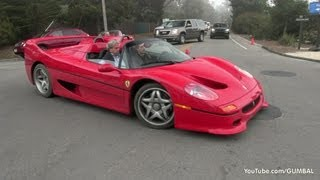 Ferrari F50 + Ferrari Enzo on the road in Pebble Beach, California