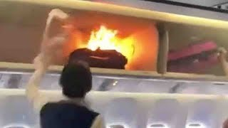 Cabin baggage catches fire during boarding