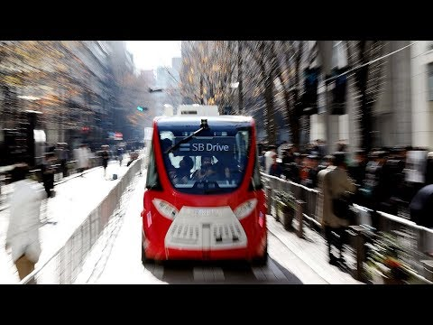 Self-driving French EV shuttle bus tested in downtown Tokyo