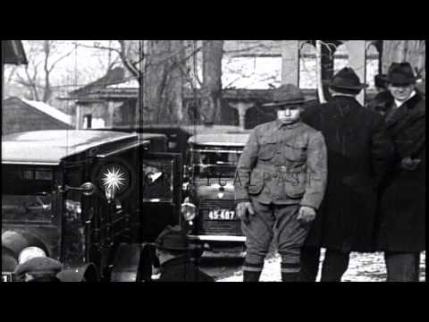 Funeral procession for President Theodore Roosevelt in Oyster Bay, New York. HD Stock Footage.