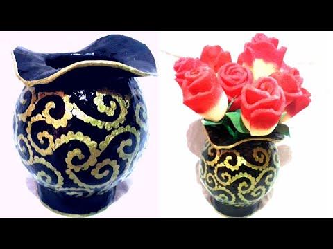 Stylish flower vase|diy|paper mache |home decor|newspaper vase making