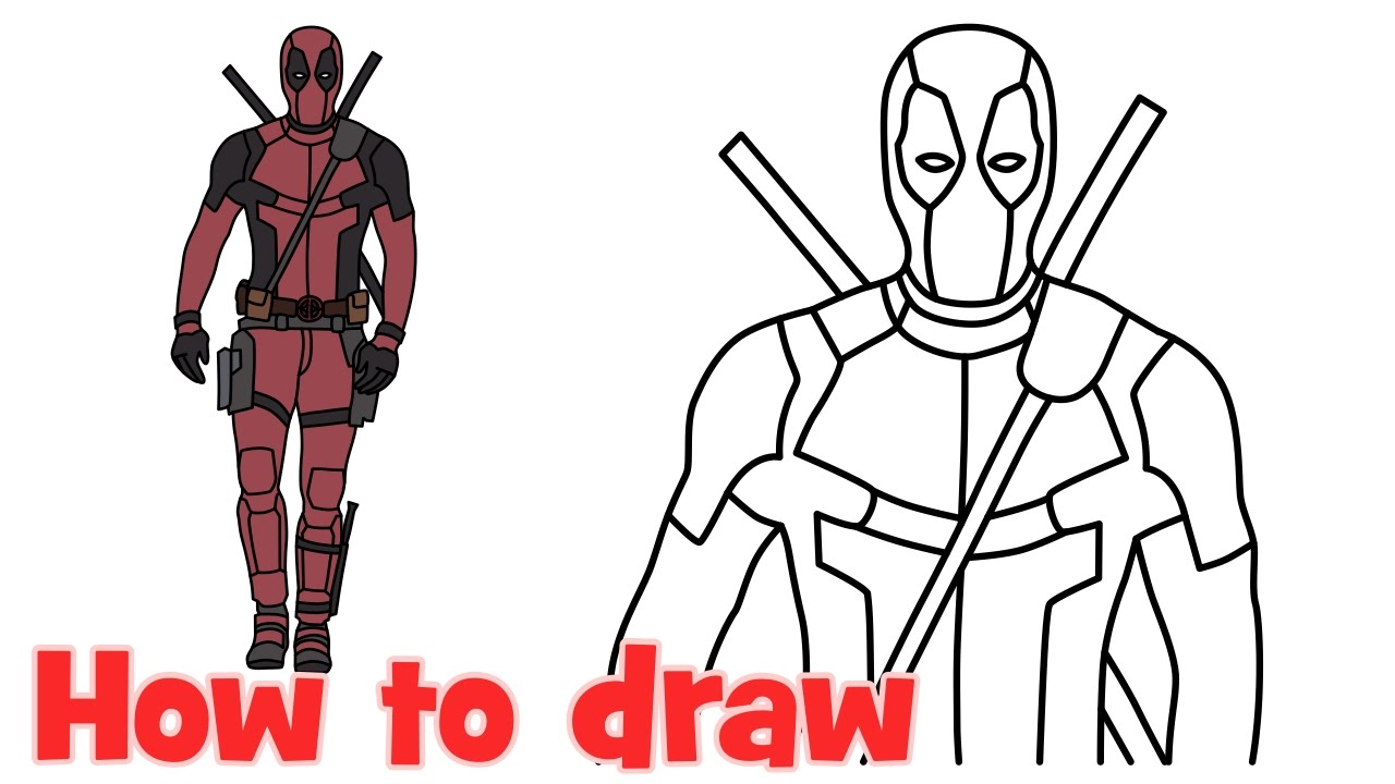 how to draw deadpool superhero full body step by step drawing youtube