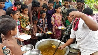 Charity Foods Prepared | Intestine Cooking By Villagers & Serve To 150+ Villagers With Rice