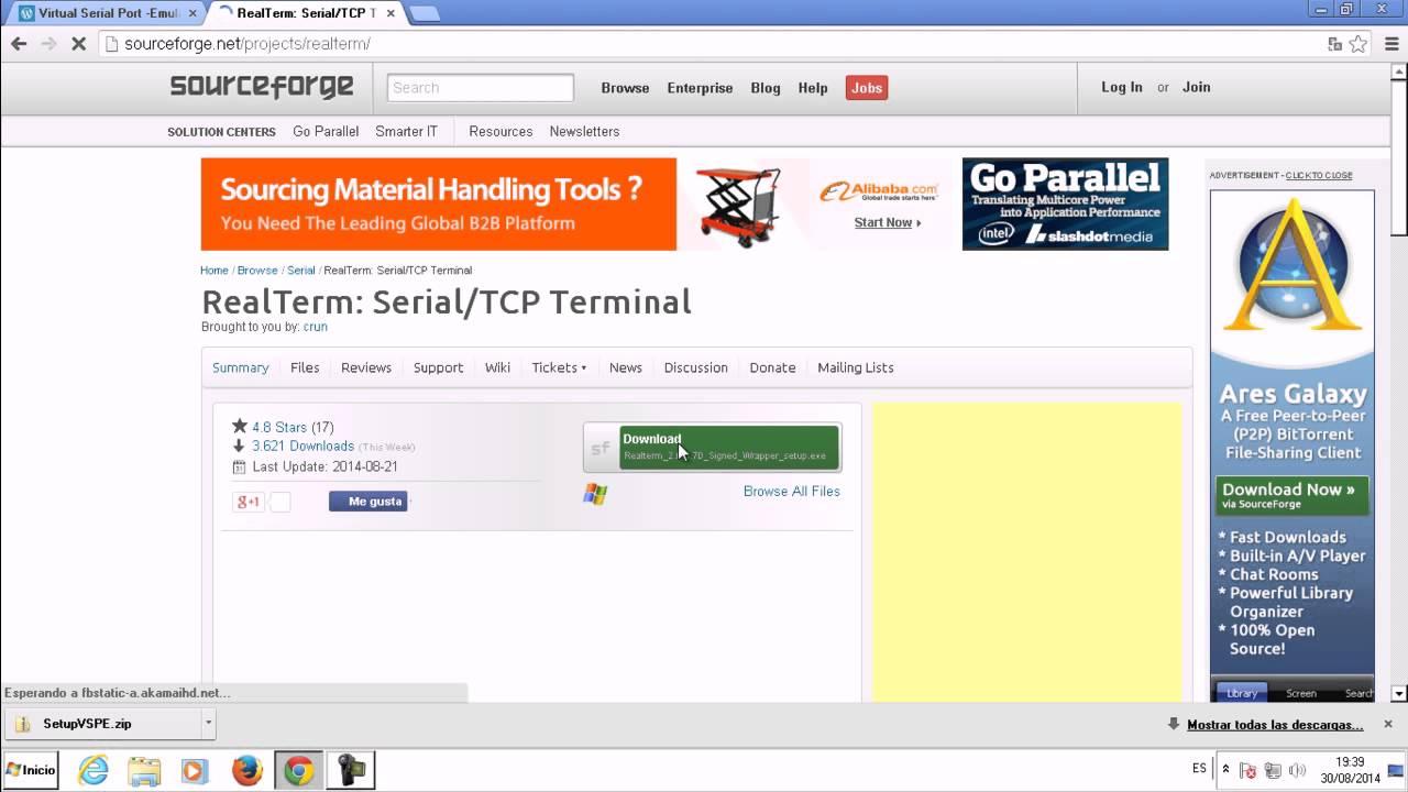 Descarga de VSPE y Realterm - Puerto serial -serie RS -232 RS-232 Serial  Port -serie: PDAControl