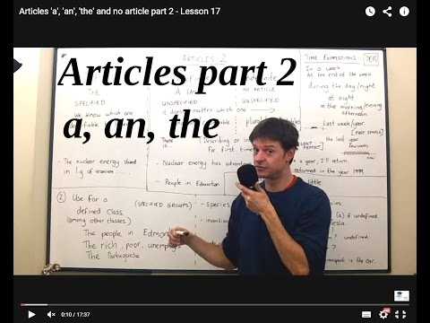 Articles 'a', 'an', 'the' And No Article Part 2 - Lesson 17