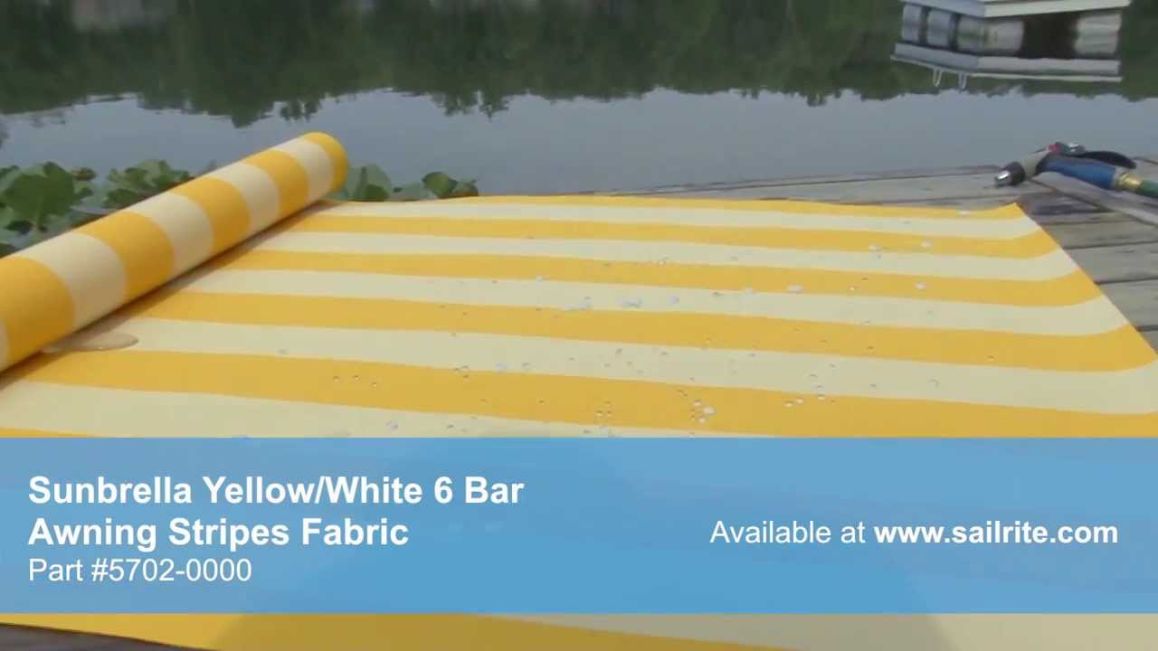 Video of Sunbrella Yellow White 6 Bar Awning Stripe Fabric 5702 ...