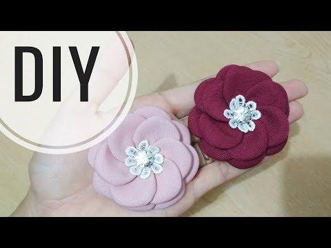 DIY || Cara membuat bros dari kain balotelli | Fabric Rose | Tutorial Easy Flower Beginner
