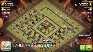 Tips Clash Of Clans TH 10: meratakan (3 star) base war type 16 menggunakan trops BowHealVaWiz
