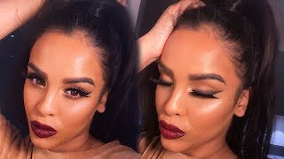 BOLD LIP & SMOKEY WINGED LINER MAKEUP TUTORIAL| NikkisSecretx