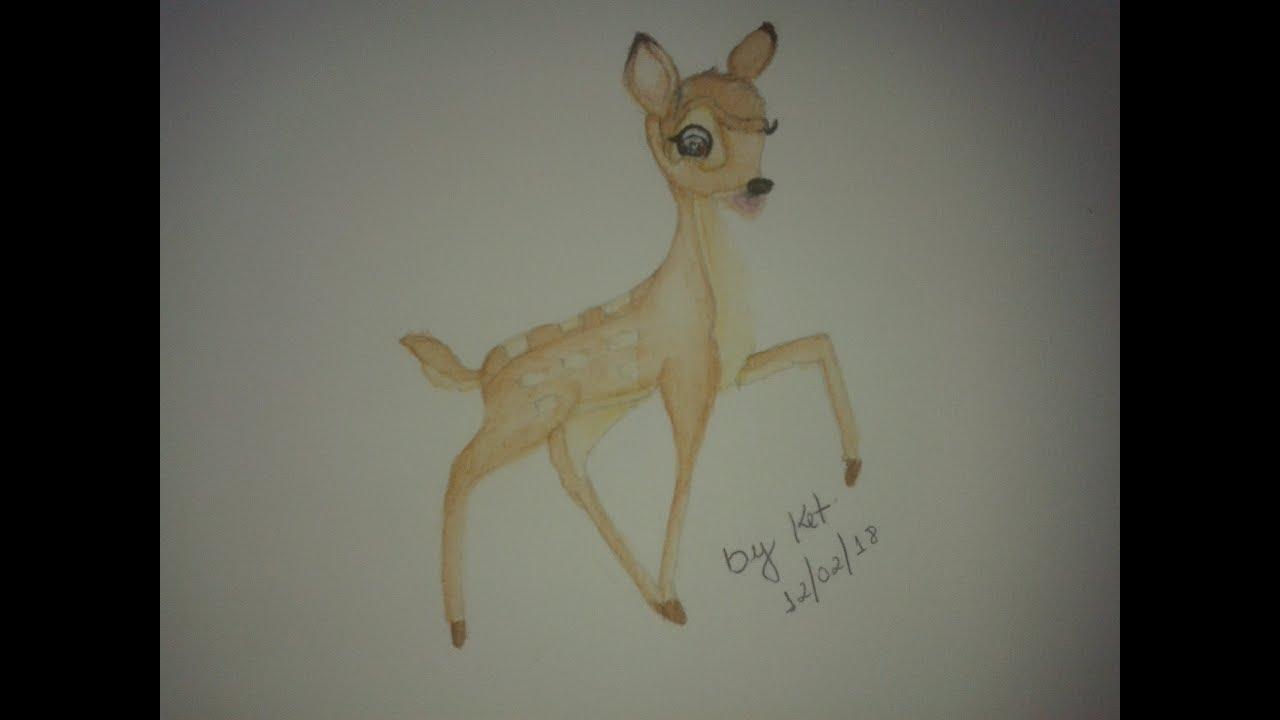How To Drawing And Coloring Bambi Como Desenhar E Colorir Bambi