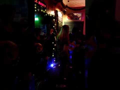 Tracey Lee jamming out with a band playing at Kickin Kadilacs tonight