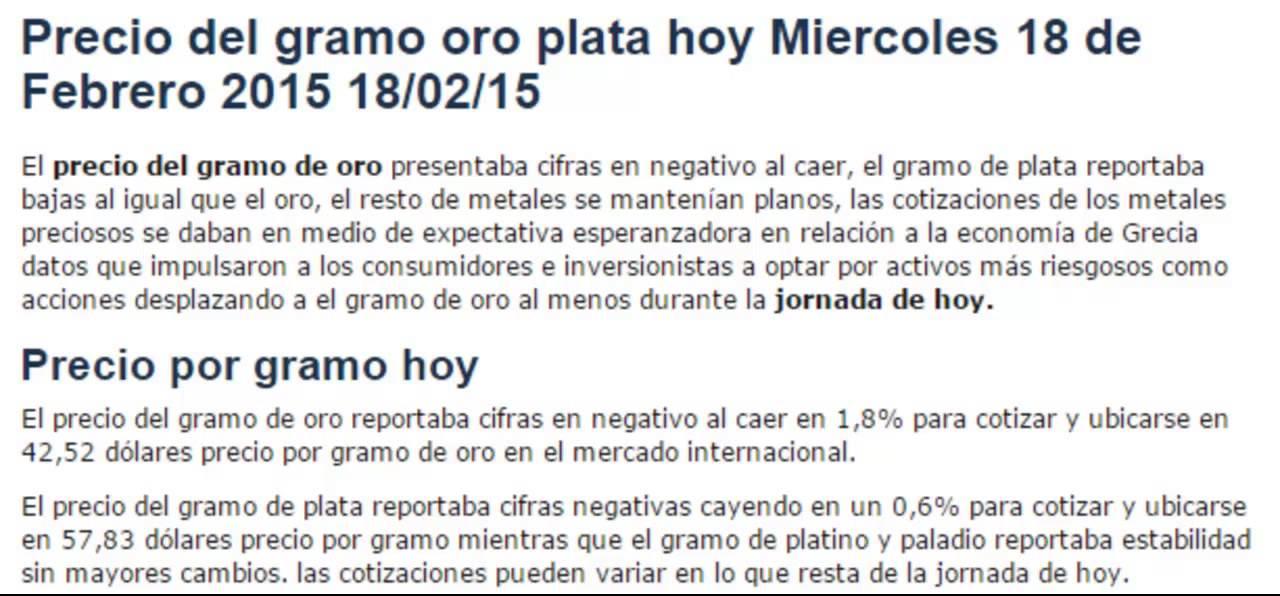 Precio Internacional Del Gramo Oro Plata Hoy Miércoles 18 De Febrero 2017 02 15