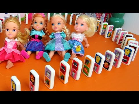 Thumbnail: DOMINO Shopkins SNAKE! Elsa, Anna toddlers & friends want to Build a Big Domino Snake