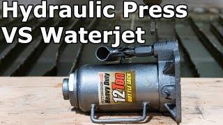 Hydraulic Press Cut in Half with 60,000 PSI Waterjet Destruction