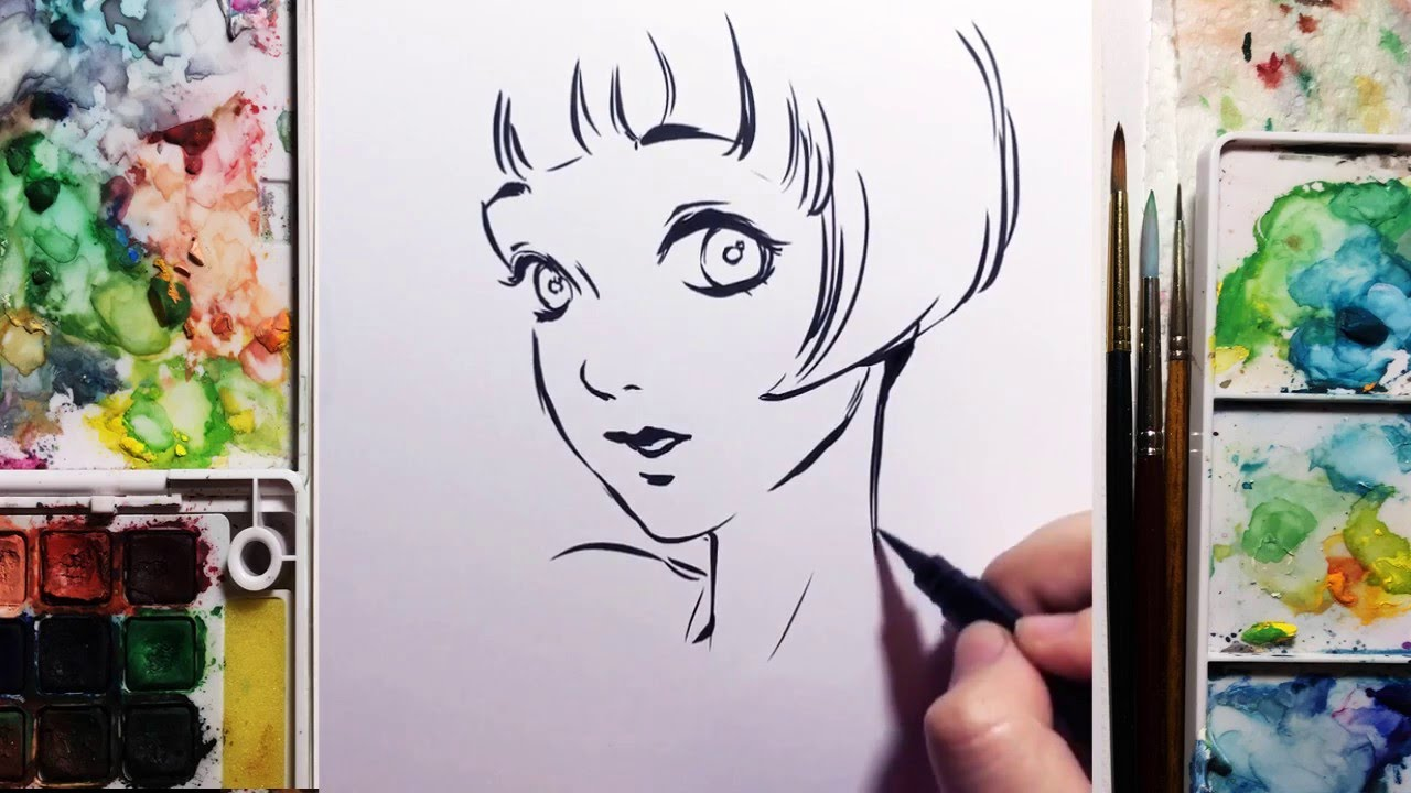 Hair Ink Drawing Paint Brush