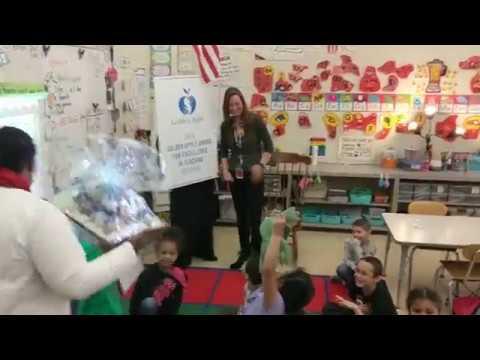 Carrie Garrett surprised with 2018 Golden Apple Award at Lynne Thigpen Elementary School in Joliet