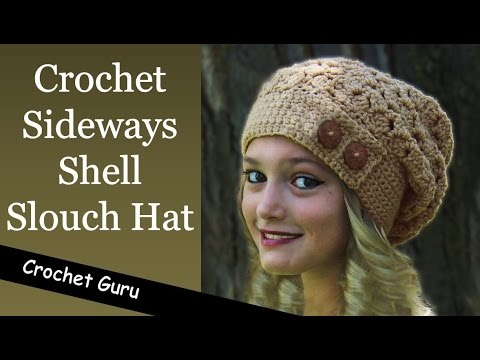 How to Crochet a Slouchy Hat - Sideways Shell Slouch Hat Pattern ... 877b9daefec