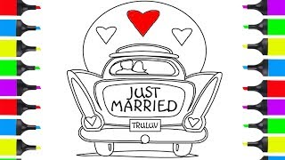 How To Draw A Wedding Car And Hearts   Coloring Pages For Kids   Learn How To Draw