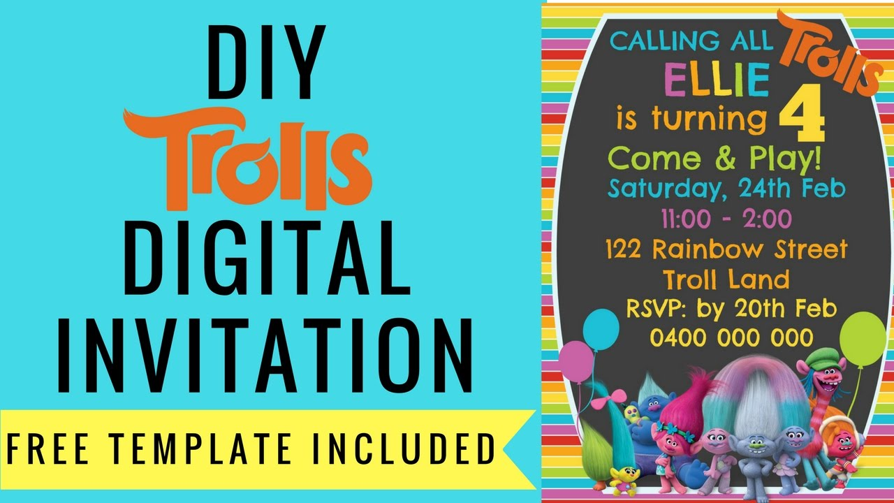 Declarative image within free printable trolls invitations