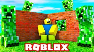 BUILD TO SURVIVE SCARY CREEPERS IN ROBLOX! (Roblox Build To Survive)