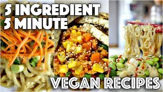 EASY VEGAN RECIPES FOR LAZY PEOPLE // 5 MINUTES 5 INGREDIENTS