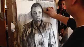 How to draw portrait with vine charcoal in 10 minutes