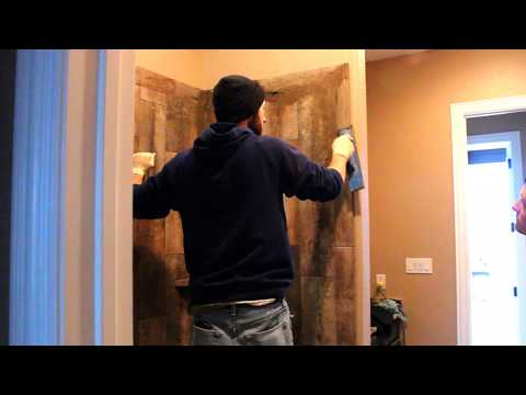 How I Grout Wood Look Tile   -   Time lapse    -    Fast And Easy