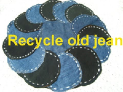 FLOOR MAT/recycle old demin /jeans/old cloths to make door mat/carpet/table mate/best out of waste