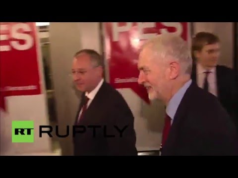 Belgium: Corbyn arrives for Party of European Socialists meeting in Brussels