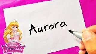 DISNEY PRINCESS - HOW TO TURN WORDS AURORA (Sleeping Beauty ) INTO CARTOON - Theakashcreations