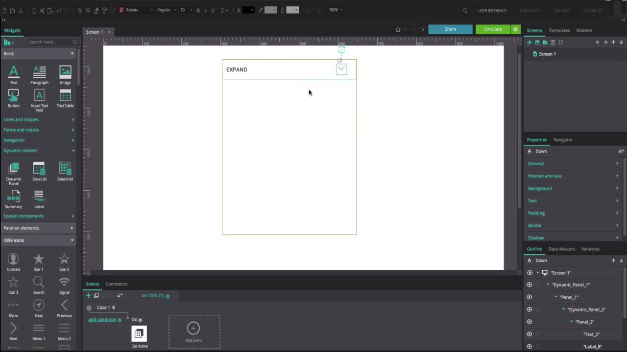 Expand and collapse content with Dynamic Panels in your UI prototypes