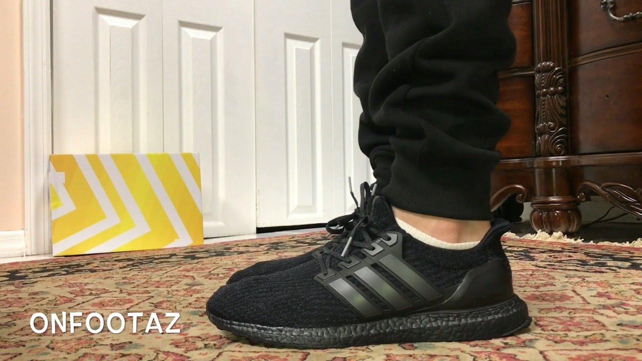 check out 4ca77 c95e3 ultra boost triple black 4.0 on feet