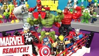 Marvel Superhero Toys REMATCH Shake RUMBLE with Spiderman, HULK & Avengers Toys // RUMBLE LEAGUE