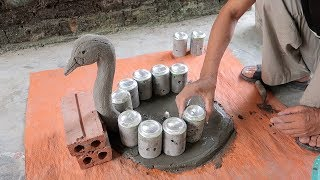Amazing Ideas With Cement - Creative A Swan Cement Pots Using Cement Easy And Simple