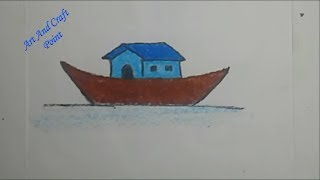 How to draw Step By Step Simple Pastel House Boat for kids // Art And Craft Point
