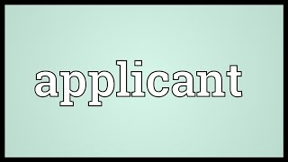 Applicant Meaning